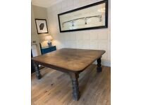 12 - 14 Seater Antique Kitchen Dining Table - Solid Oak - c1900