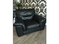Black leather 3 seater sofa + matching chair and footstool storage