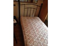 single bed with mattress, duvet covers - solid iron and stylish design... hardly used £ 60