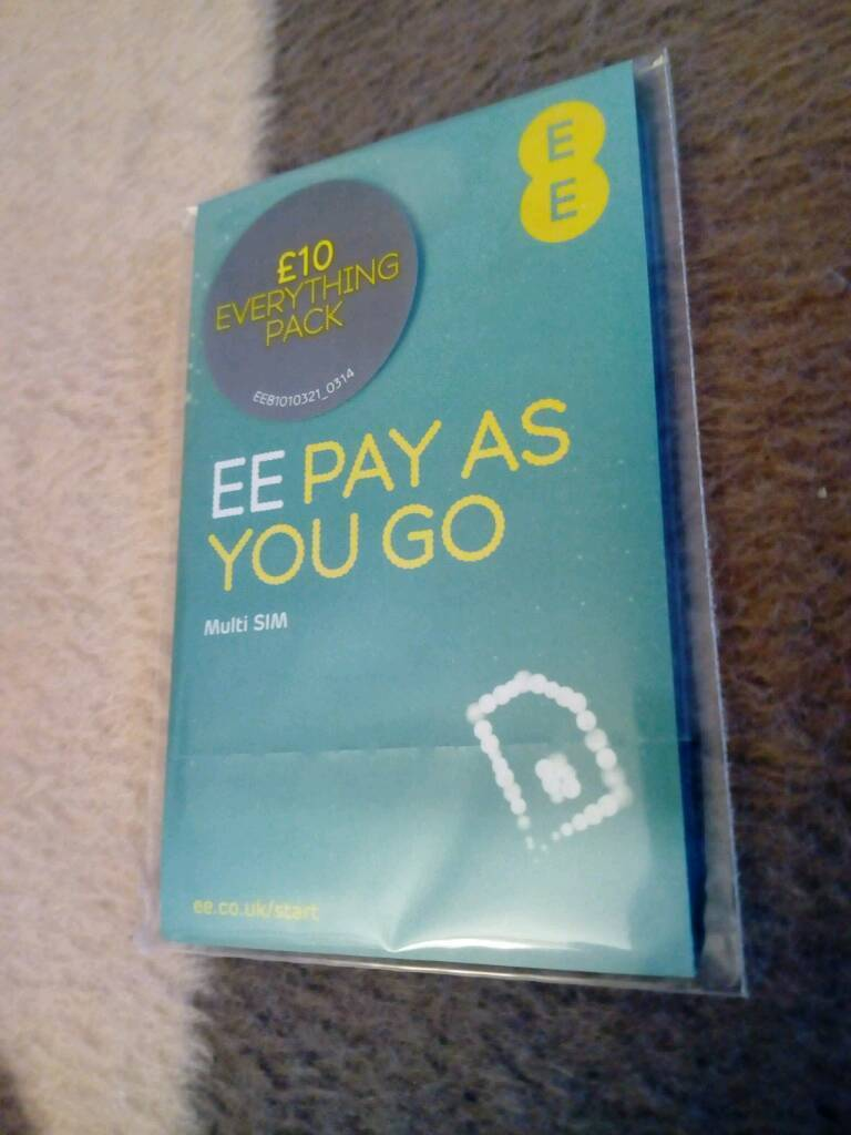 EE Pay As You Go Sim Card Pack (Brand New Sealed)