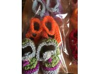 Hand made baby knitted slippers