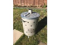 90l Garden Incinerator and safety gloves