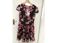 Black floral dress size 16 new