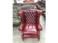 Stunning oxblood leather chesterfield Queen Anne wingback chair UK delivery