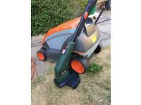 Flymo lawn mower & Black & Decker strimmer