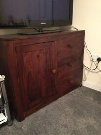 Dark wood solid large side unit