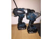 MAKITA Cordless 18v LXT Li-ion Combi Drill Impact Driver Twin Lithium Kit