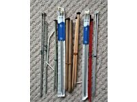 A collection of 9 pairs of knitting needles and 1 circular needle