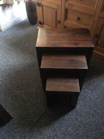 N.est of tables wood brown