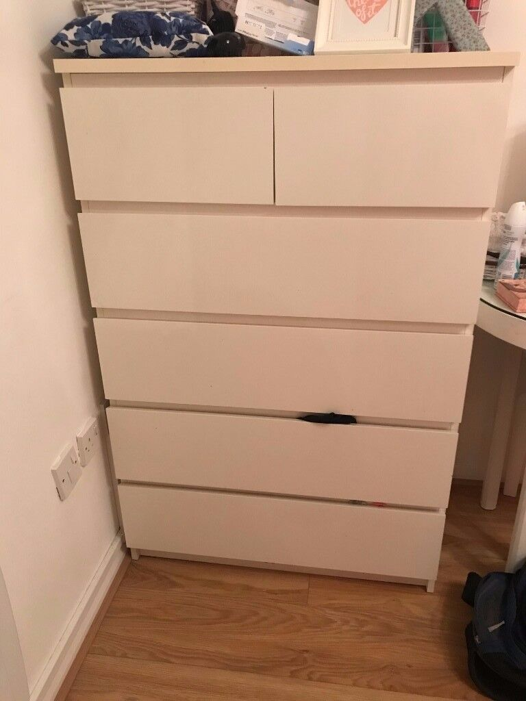 Ikea 6 drawers Malm White chest of drawers bedroom furniture