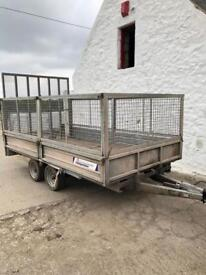 Indespension trailer 12ft 6 by 7ft wide twin axle with ramp cage sides plant trailer