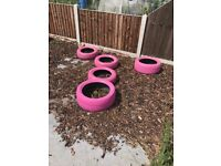 7 x pink painted tyres