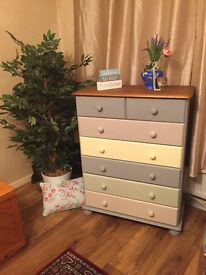 2 pretty sets of 7drawer chest, painted in pastels❤️