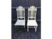 Pair of oak carved chairs