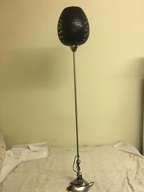 BRAIDED BLACK BAMBOO / Rattan / Wicker SHADE FLOOR LAMP