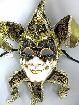 Jester Black Gold Decor Wear Mardi Gras Masquerade Mask Wall Hanging