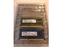 10 units of assorted memory for laptops, DDR3 and DDR2 SODIMM (512MB, 1GB, 2GB)