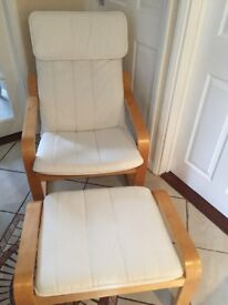 Ikea Poang arm chair & footstool