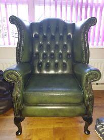 vintage chesterfield queen Anne armchair