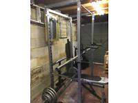 Power rack and Olympic weights set