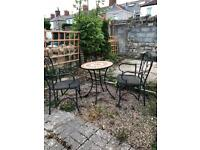 Metal patio furniture set table & chairs
