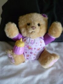 Lovie Cubbie Honey Bear with bottle. Interactive giggles and makes noises
