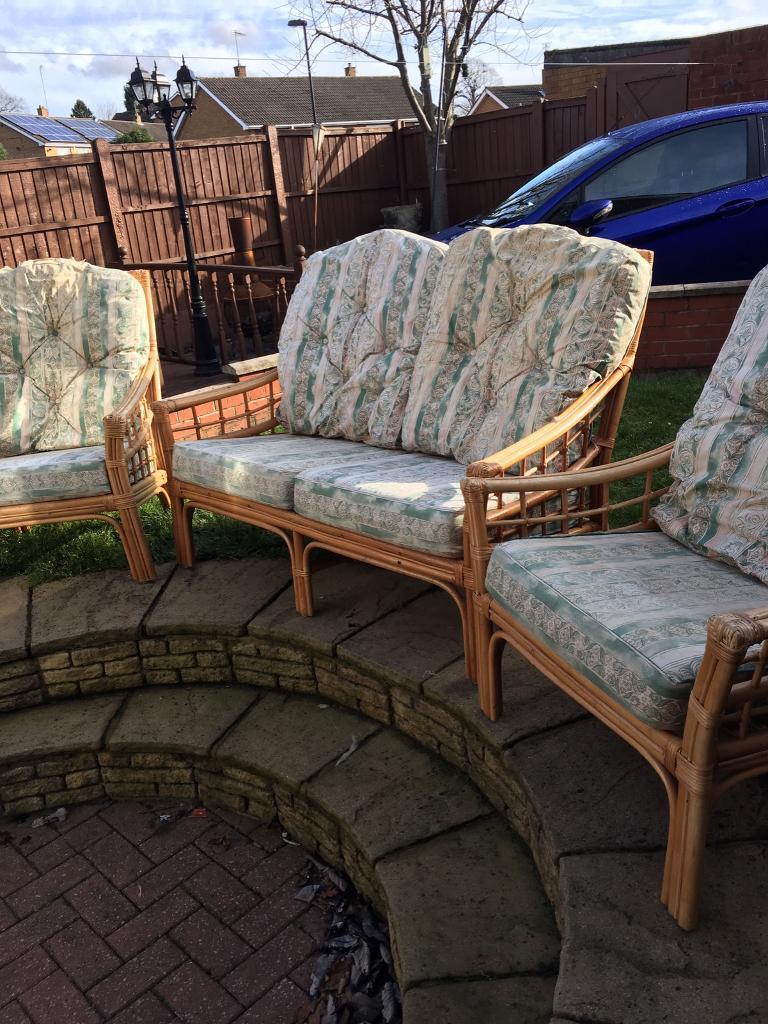 Conservatory furniture wickerin Arnold, NottinghamshireGumtree - 3 piece wicker conservatory furniture The covers may need recovering but the wicker is in good condition Call me on 07977784075