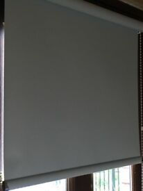 Two baby blue roller blinds PVC