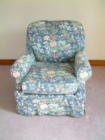 A QUALITY ATTRACTIVE LARGE COMFORTABLE ARM CHAIR by IKEA -- WITH REMOVABLE FLORAL COTTON COVERS