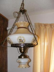 HURRICANE SWAG LAMP - HAND PAINTED VIOLETS
