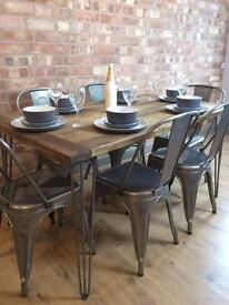 New Handmade Bespoke Rustic Retro Industrial Table And 6 Tolix Chairs With Metal Hairpin Legs