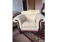 3 piece suite sofa & armchairs. *Delivery possible*. Dark brown wood, cream.