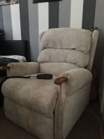 Beige/Stone Electric High Riser Chair