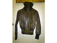 Ladies/Girls New Look leather stylish chocolate brown jacket - Size 10