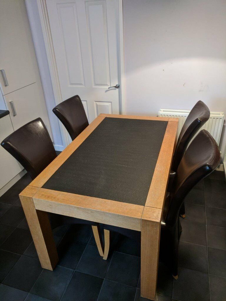 Solid Oak Table With Granite Slab In Centre 4 Brown Leather Chairs