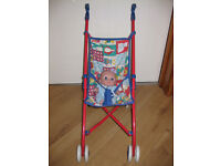 METAL FRAMED COLLAPSIBLE PUSHCHAIR with BABY DOLL - GREAT CONDITION! GREAT PRICE!