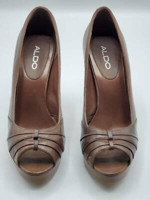 Aldo Womens Pump Shoes Brown Slim Heels Peep Toe Leather Slip Ons 7.5 EUR 38 Brown Peep Toe Pump