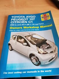 Peugeot 107,Citroen C1 and Toyota Aygo Haynes Manual as new condition £8