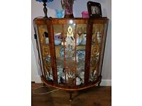 Vintage retro wooden and glass china display cabinet with gold motifs