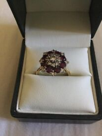 Diamond and ruby cluster ring.....vintage 1950s