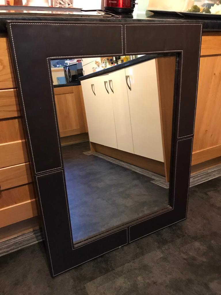 Mirror with Leather frame wrap
