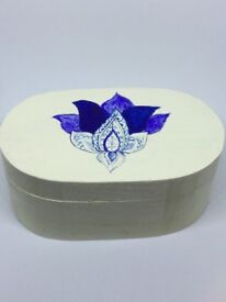 White and blue wooden Jewellery Box, p&p included