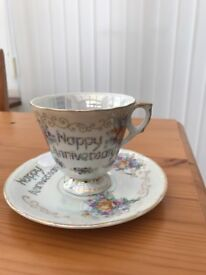 Happy anniversary cup and saucer set