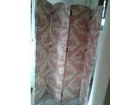 French Vintage Burgundy Decorative Dressing Screen Room Divider Toile de Jouy