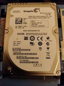"Seagate 250gb sata 2.5"" laptop hard drive 7200rpm"