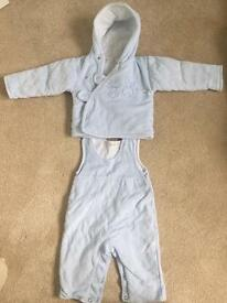 Baby boy velour dungaree set 0-3 months