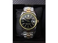Rolex Datejust Bi metal Black Dial, Automatic Watch, Metal Strap