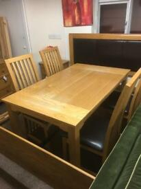 Solid oak dining table & 4 chairs * free furniture delivery *