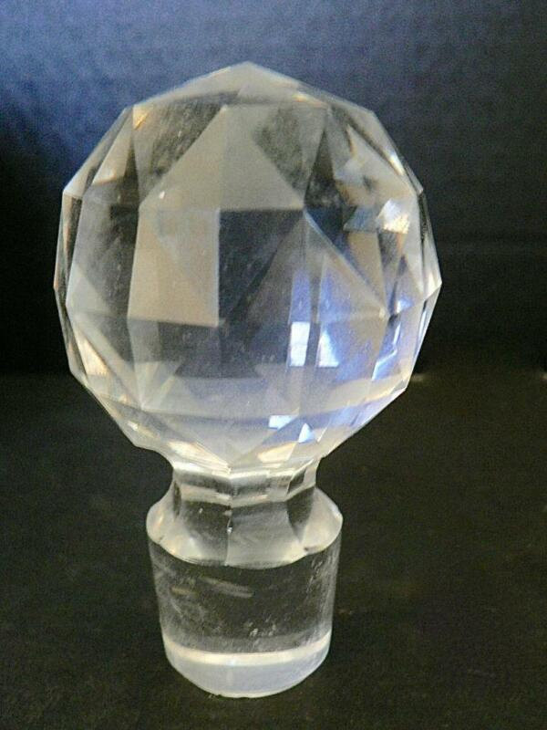 "VINTAGE 3.5""  FACETED ROUND GLASS CRYSTAL STOPPER BOTTLE DECANTER"