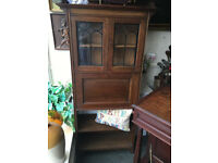 Splendid Rare Neat Antique Solid Oak Inlaid Lockable Writing Bureau Bookcase w Glazed Leaded Doors